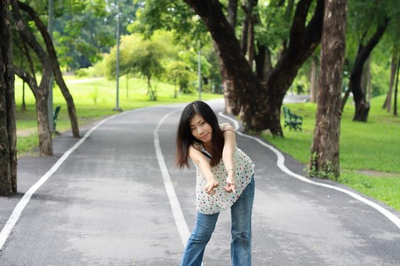 beautiful girl in the middle of the road  Stock Photo - 7335399