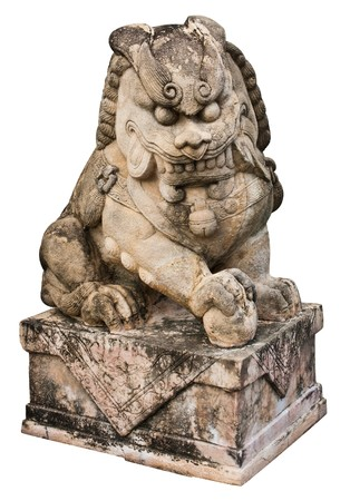 Stone Lion sculpture, symbol of protection & power in Oriental Asia especially China photo