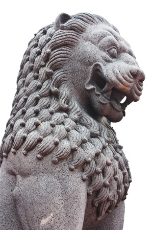 lion figurines: Buddhist temple lion statue with india style arr