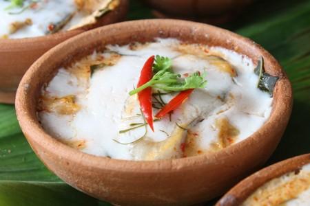 thai ethnicity: Thai steamed fish pudding in ceramic cup
