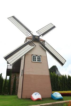windmill with flower field near Stock Photo - 7596282