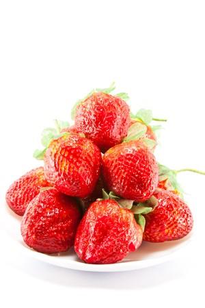 Isolated fruits - Strawberries on white background photo