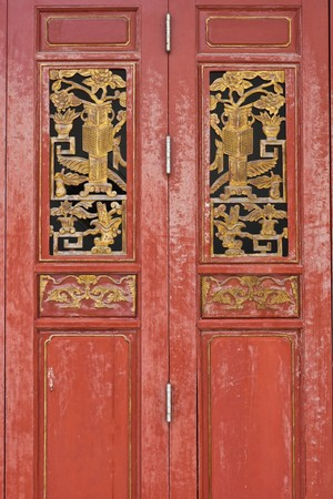 The red door with gold texture in chinese style art photo