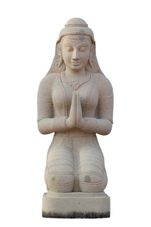 Beautiful hand craft Thai style girl statue praying Stock Photo - 9507420