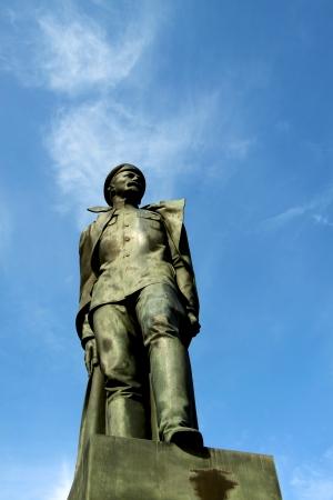 felix: Statue of Felix Dzierzinski - St.Petersburg, Russia Stock Photo