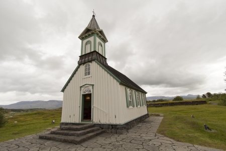 beautiful white green chapel - Iceland Stockfoto