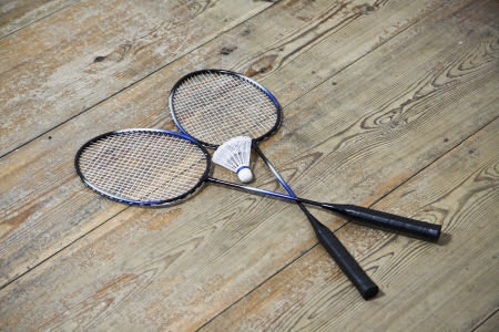 shuttlecock: Vintage badminton racquets with shuttlecock Stock Photo