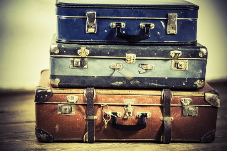 beautiful old blue and brown suitcases - retro style Stock Photo