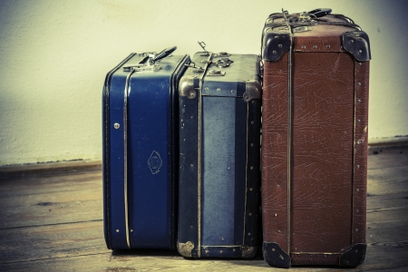 beautiful old blue and brown suitcases - retro style photo
