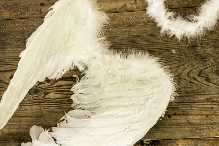 angel wings on the wooden floor - retro photo