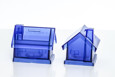 House Blue Money Box on White Background photo