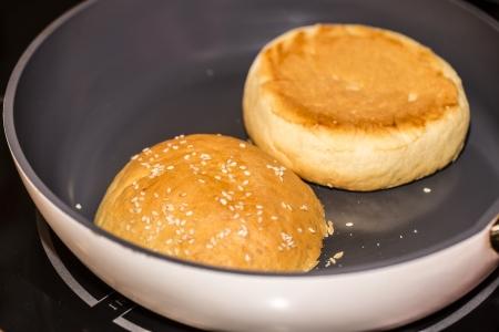 Making beautiful burger at home photo