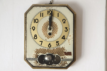 retro wall clock on old background on the white photo