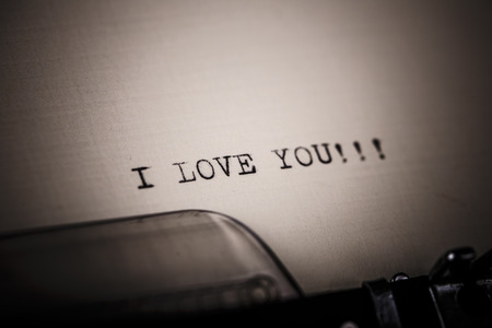 Beautiful I love you message typed by vintage typewriter photo