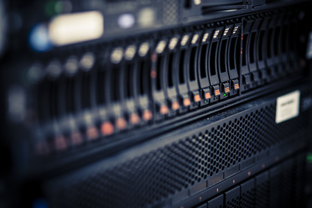 storage or file server. harddisk in server room photo
