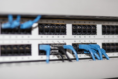 isp: Server panel with blue cables and connectors
