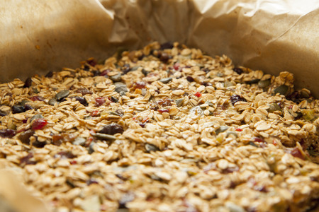 Closeup of a tasty homemade pile of muesli photo