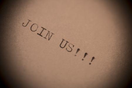 write us: Typewriter closeup shot, concept of join us Stock Photo