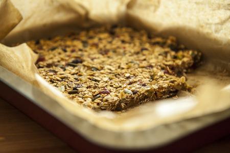 Closeup of a tasty homemade pile of muesli photo