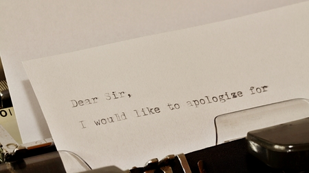 Letter with a title Dear Sir typed on old typewriter Stock Photo