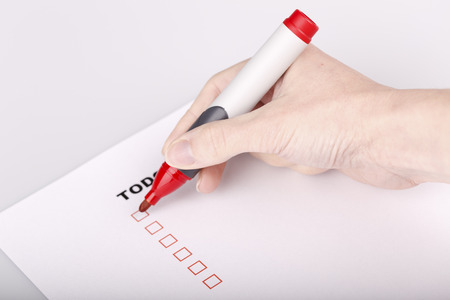 To Do list with check marks isolated on white photo