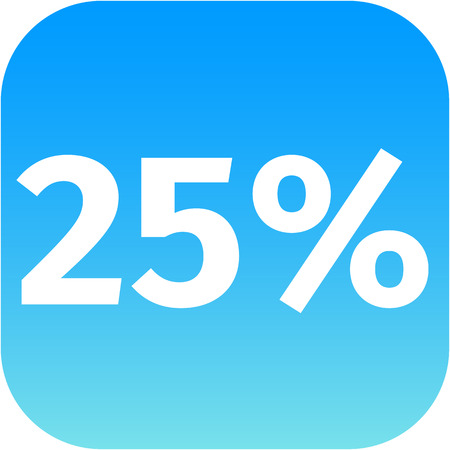 25 percent blue and white icon for phone app photo
