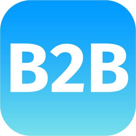 b2b: b2b blue and white computer icon