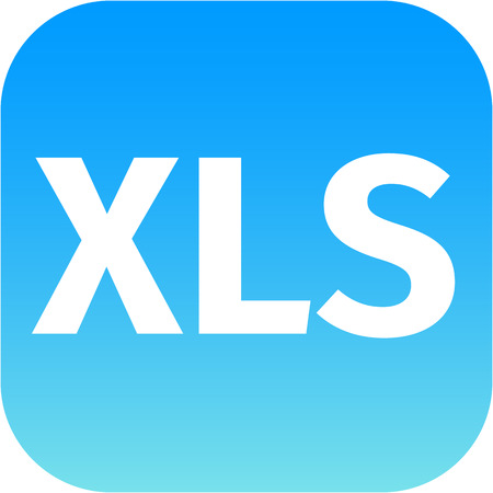 xls: XLS sign icon. Download image file symbol. Blue shiny button. white text