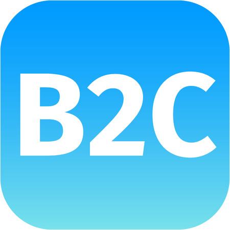 blue business to customer icon B2C for web or phone app photo