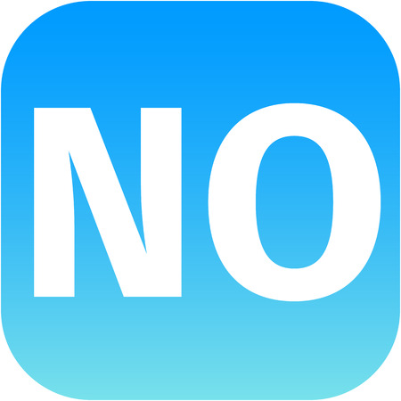 disallowed: text no on blue icon for web or phone app Stock Photo