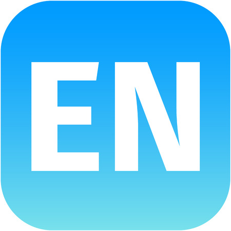 en: EN domain icon, england, blue, international Stock Photo