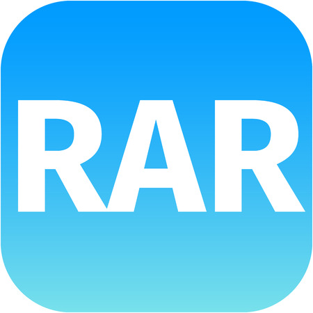 zipped: Archive file icon. Download compressed file button. RAR zipped file extension symbol. Circle flat button with shadow. for phone app Stock Photo
