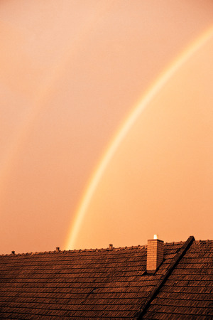 beautiful rainbow in the evening photo