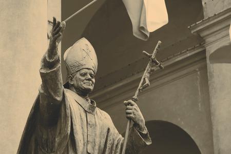 beatification: statue of Pope John Paul II Editorial