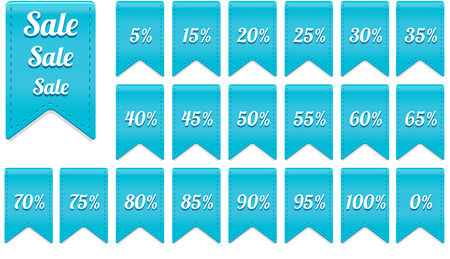 65 70: beautiful blue ribbon discount label elements set - sale and percentage Stock Photo