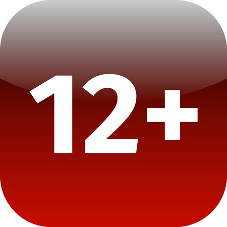 Restriction on age 12+ - red and white phone app or web icon. 12 plus photo