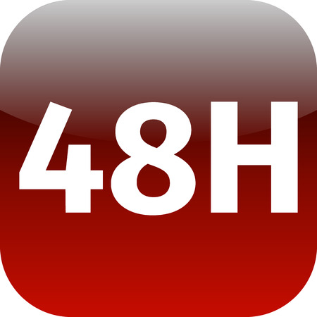 48h red and white icon for phone or web app stock photo picture and