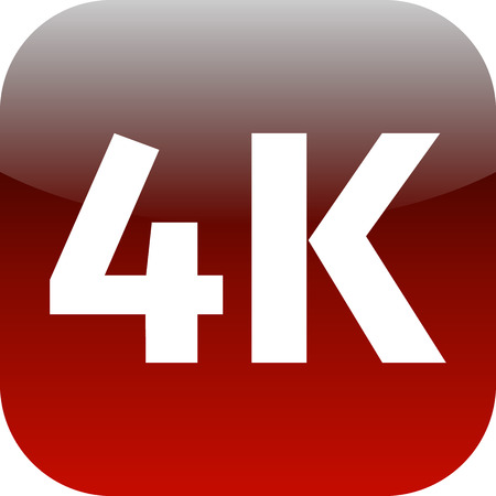 ultra modern: 4K Ultra HD TV icon - red icon for phone or web app Stock Photo