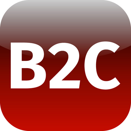 red business to customer icon B2C for web or phone app photo