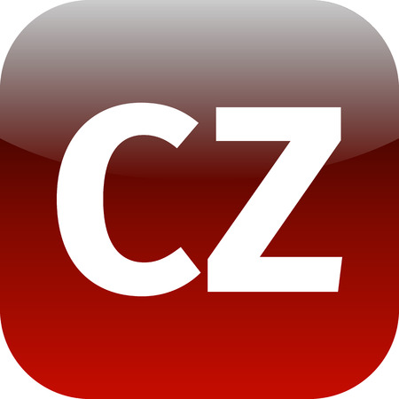 cz: CZ domain icon, czech republic, red, international