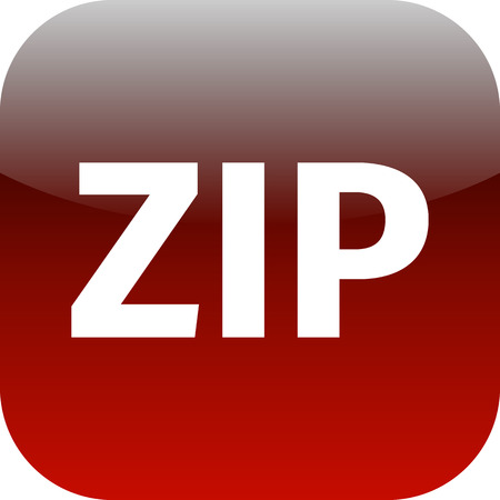 zipped: Archive file icon. Download compressed file button. ZIP zipped file extension symbol. Circle flat button with shadow. for phone app Stock Photo