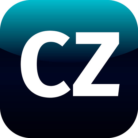cz: CZ domain icon, czech republic, blue, international