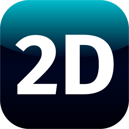 blue 2D icon for web or phone app - 2 dimension photo