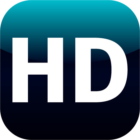 high definition: HD - High definition blue icon for web, internet or phone app Stock Photo