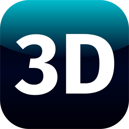 3 dimensional: 3D blue and white icon for phone or web app - 3 dimensional