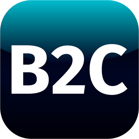 b2c: blue business to customer icon B2C for web or phone app