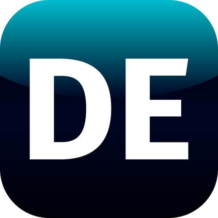 deutchland: DE domain icon, Germany, Deutchland, blue, international Stock Photo