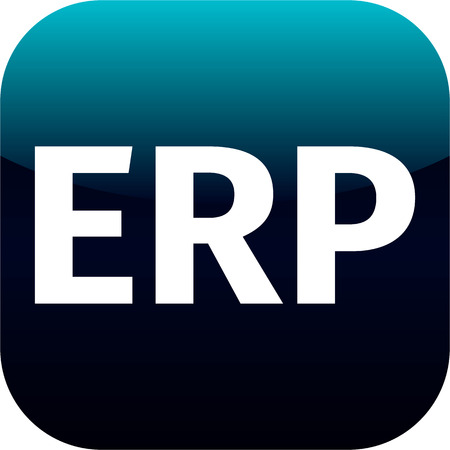 erp: modern blue erp icon - for web, internet or phone app Stock Photo