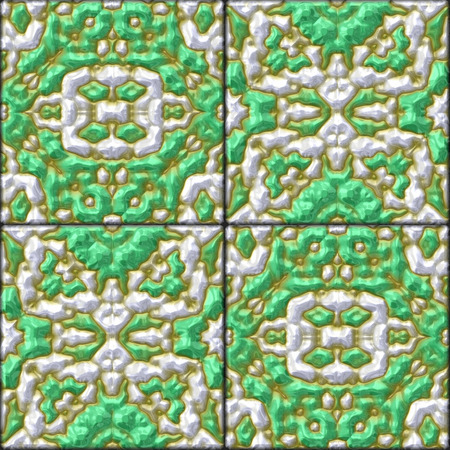 glazed: abstract retro green glazed genarated tiles - texture