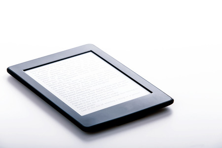 black ebook reader or tablet on white background Stock Photo